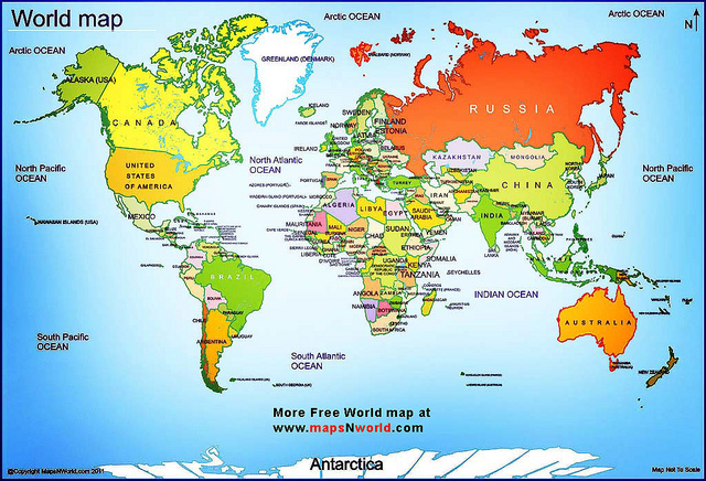 A Map Of The World With All The Countries Labeled Stock Vector