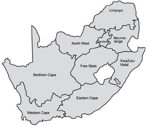 blank map of south africa to label provinces - Made By ...