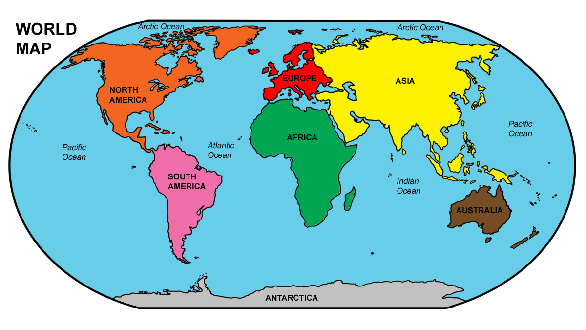 Continents Map Labeled World Map Continents And Oceans Labeled
