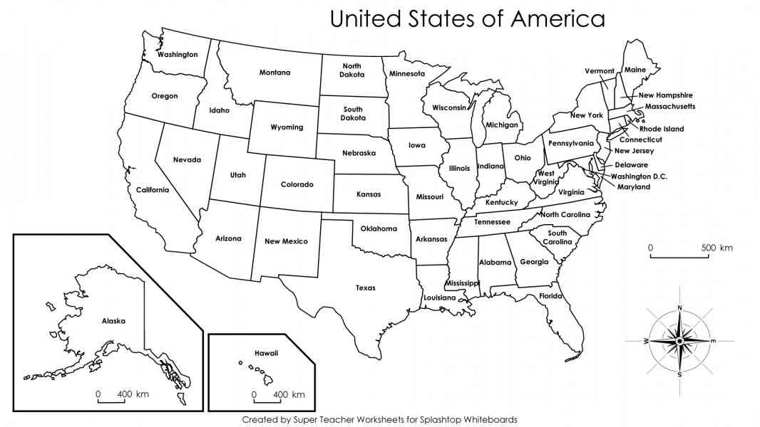 Labeled Map Of States In The Usa Large Us Map States Labeled Us Map