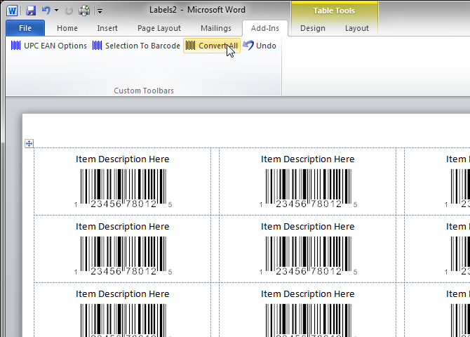 printing labels with word