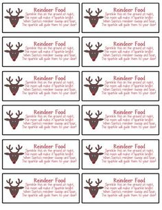 photo regarding Printable Reindeer Food Tags called reindeer food stuff labels printable