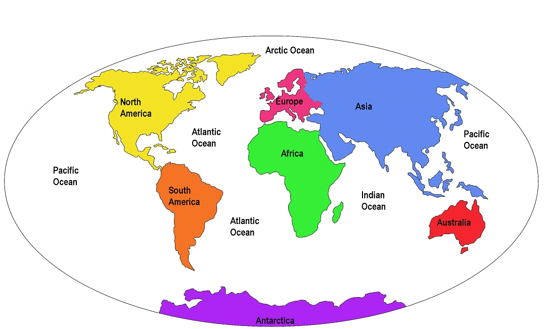 World Map With Continents Labeled - Made By Creative Label