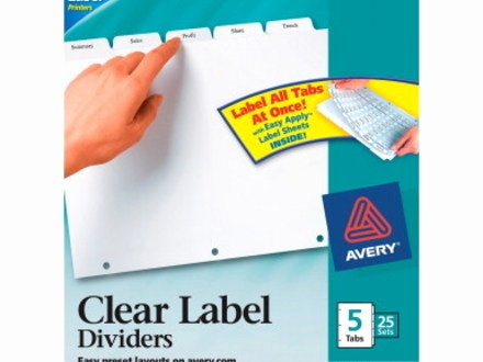 avery index maker clear label dividers 5 tab avery index maker 5 tab