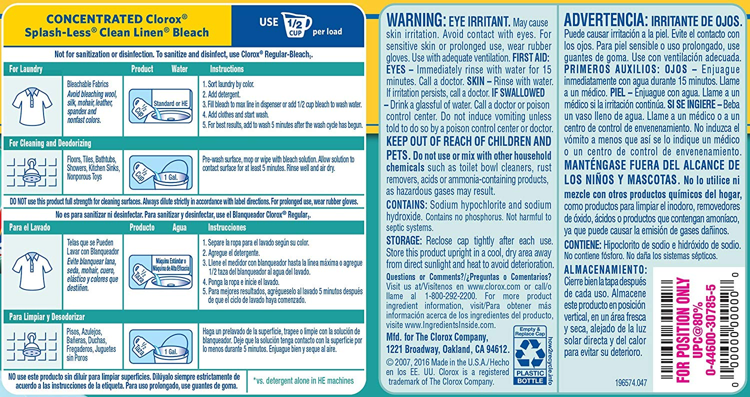 Warning Label On Clorox Bleach Dl 090 3z Made By