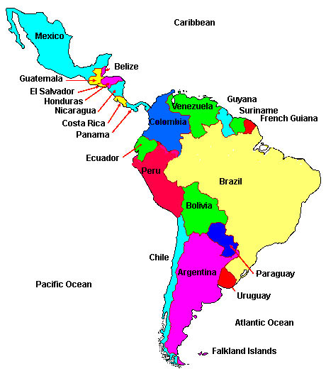 central america physical map with labels latin america politic map ...