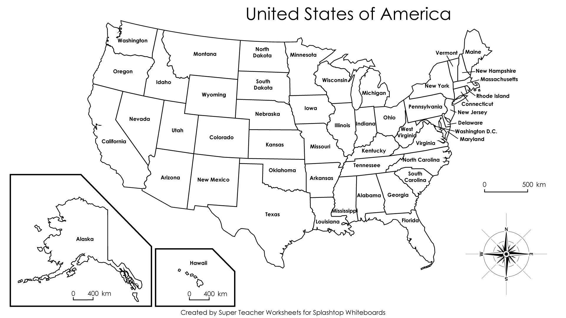 Map Of The United States With States Labeled Printable Printable Us - Us-map-with-labels